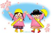 桜と園児たち(女の子)のイラスト