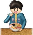 ラーメンを食べている男の子のイラスト