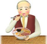 ラーメンを食べているおじいさんのイラスト