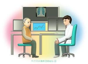 診察室で医師の説明を受けるおじいさんのイラスト