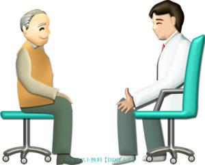 医師の説明を受けるおじいさん(シンプル版)のイラスト