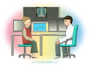 診察室で医師の説明を受けるおばあさんのイラスト