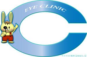 眼科向けランドルト環の飾り枠・検眼♂ウサギのイラスト