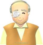 白内障手術後の眼帯おじいさんのイラスト