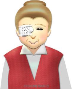 白内障手術後の眼帯おばあさんのイラスト