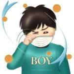 花粉症で目がかゆい男の子のイラスト