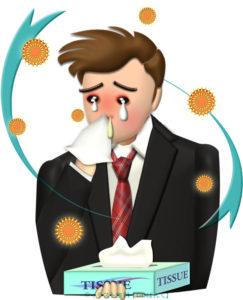 花粉症で鼻水と赤パンダ目の男性のイラスト