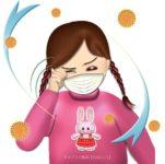 花粉症で目がかゆい女の子のイラスト