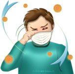 花粉症で目がかゆい男性のイラスト