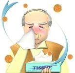 花粉症でティッシュの箱を手放せない、鼻水と赤パンダ目のおじいさんのイラスト