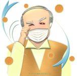 花粉症で目がかゆいおじいさんのイラスト