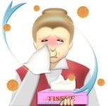 花粉症でティッシュの箱を手放せない、鼻水&赤パンダ目のおばあさんのイラスト