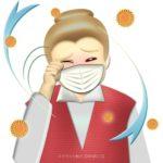 花粉症で目がかゆいおばあさんのイラスト