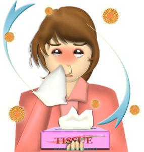 花粉症でティッシュの箱を手放せない、鼻水&赤パンダ目の女性のイラスト