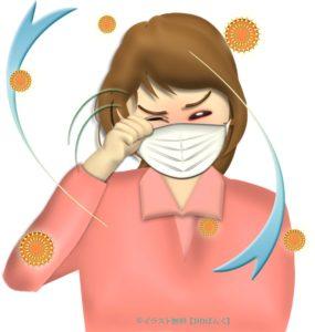 花粉症で目がかゆい女性のイラスト