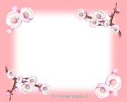 桃の花の飾り枠のイラスト