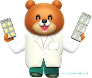 薬を持つ薬剤師のクマのイラスト