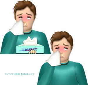 涙と鼻水を流し、ティッシュペーパーを持った男性のイラスト