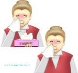 涙と鼻水を流し、ティッシュペーパーを持ったおばあさんのイラスト