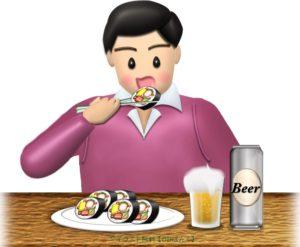 恵方巻(太巻き寿司)を輪切りにして食べる男性のイラスト