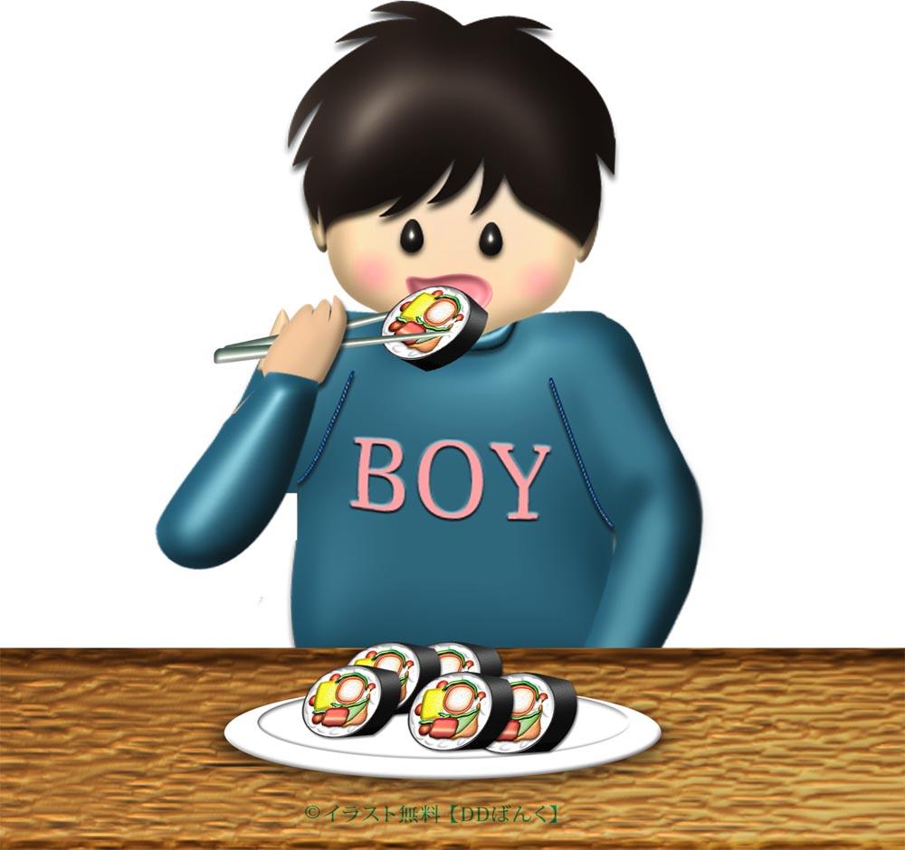 恵方巻を輪切りにして食べる男の子のイラスト