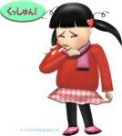 くしゃみする女の子のイラスト