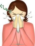 くしゃみする女性のイラスト