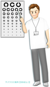 視力検査表を指し示す男性スタッフのイラスト