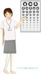 視力検査表を指し示す女性スタッフのイラスト
