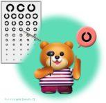 視力検査するクマのイラスト