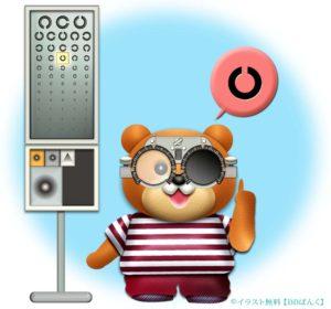 検眼枠(試験枠・トライアルフレーム)のレンズで視力検査するクマのイラスト