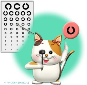 視力検査するニャンコのイラスト