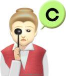 遮眼子を目に当てて視力検査するおばあさんのイラスト