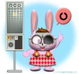 検眼枠(試験枠・トライアルフレーム)のレンズで視力検査する♀ウサギのイラスト