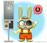 検眼枠(試験枠・トライアルフレーム)のレンズで視力検査するウサギのイラスト