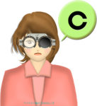 検眼枠を装着した女性のイラスト