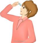 目薬を差す女性のイラスト