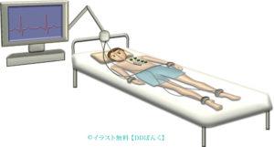 心電図検査を受ける男性のイラスト