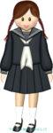 セーラー服を着た女子(小・中学生)のイラスト