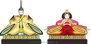 親王飾り(お内裏様とお雛様)のイラスト