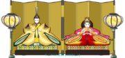 ひな祭り/金屏風とぼんぼり付き親王飾り(お内裏様とお雛様)のイラスト