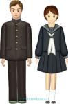 学生服(学ランとセーラー服)の男女ペアのイラスト