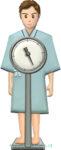 体重測定している検診服の男性のイラスト