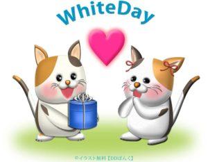 ホワイトデーのプレゼントを渡すニャンコのイラスト
