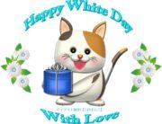 ホワイトデーの猫キャラと花のイラスト