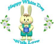 ホワイトデーの男の子ウサギと花のイラスト