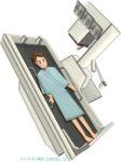 胃部・食道のX線(レントゲン)検査する男性のイラスト