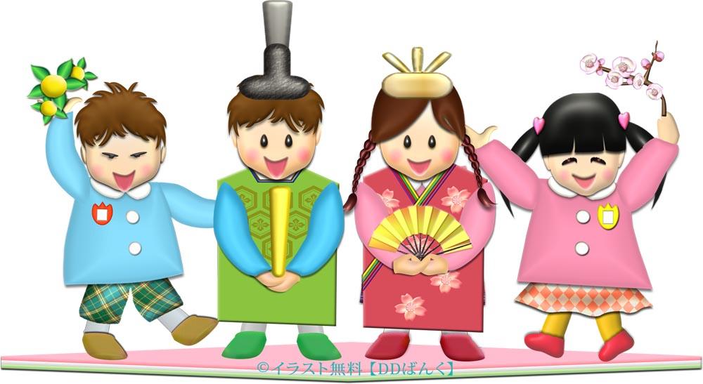 幼稚園(保育園)でひな祭りの出し物|お雛様の扮装する園児たちのイラスト