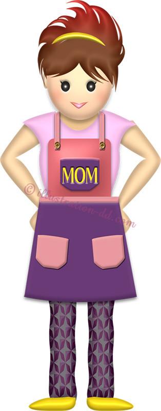 エプロンのママ 母の日のイラスト