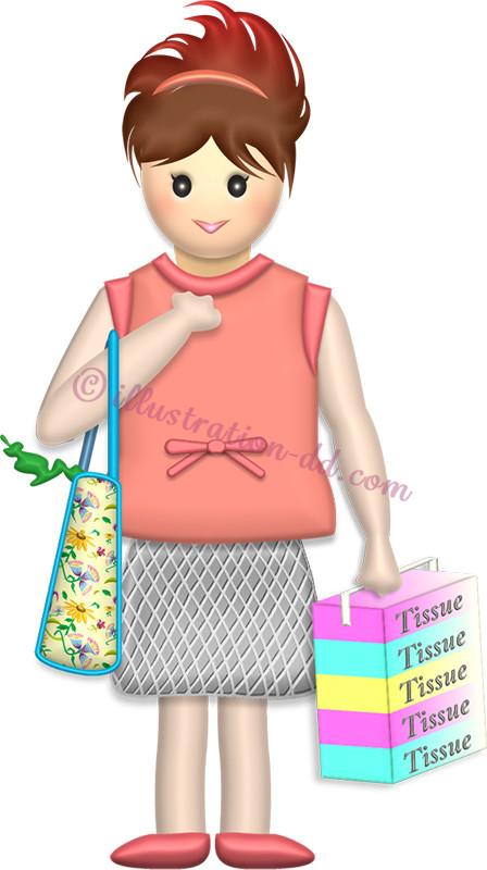 買い物するママ 母の日のイラスト